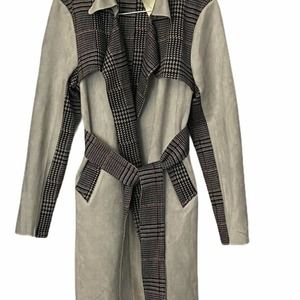 Solitaire Hounds tooth Gray Faux Suede Trench Coat